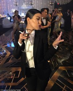 Kourtney Kardashian suited up as Jay Gatsby for her momager Kris Jenner's birthday bash at The Lot in West Hollywood Friday evening. Kardashian Style, Kardashian Jenner, Kourtney Kardashian, Great Gatsby Outfits, Harlem Nights Theme, Black Pant Suit, Black Pants, 60th Birthday Party, Birthday Ideas