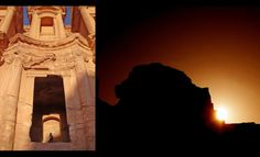 When the winter solstice occurs, the setting sun shines upon a podium of the Monastery at Petra. This produces the silhouette of a lion's head that shines on the rocks opposite to the structure.