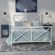 Beachcrest Home Greenlee Queen All-In-One X Gloss White Metal Bed Metal Platform Bed, Modern Platform Bed, Upholstered Platform Bed, Modern Loft, White Metal Bed, Diy Home, Home Decor, Steel Bed, Murphy Bed Plans
