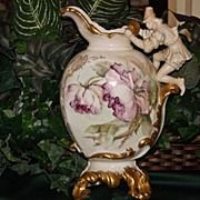 Limoges Rare Figural Handled Ornate Vase/Ewer Pink/Blush Roses
