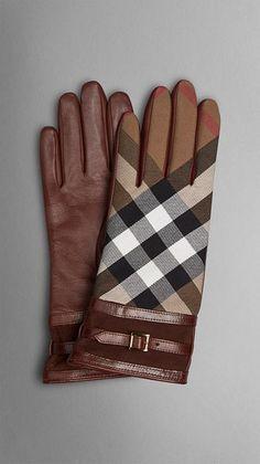 Touchscreen-Handschuhe aus Leder mit House Check-Muster