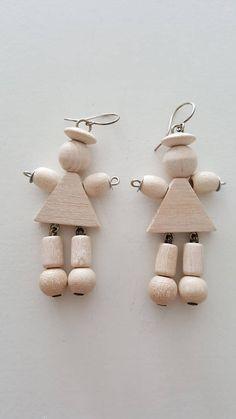 "Vintage Aarikka Hook earrings ""Piccolina"" Made in Vintage Hooks, 1990s, Christmas Ornaments, Holiday Decor, Wood, Earrings, Silver, How To Make, Etsy"
