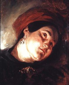 Head of a Woman in a Red Turban - Eugene Delacroix Completion Date: 1831
