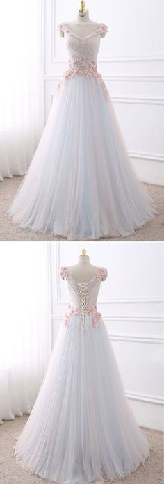Cute flowers appliqued white tulle long prom dress M3680