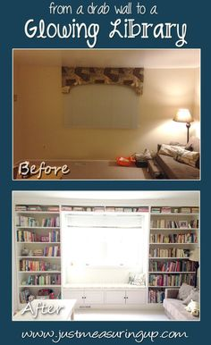 Learn how to make built-in bookshelves with a window seat with this easy tutorial.