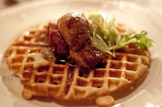 Waffle with Foie Gras at Garde Manger (Montreal, QC). #UniqueEats #waffles
