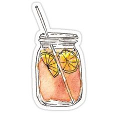 Mason Jar Summer Sun Ice Tea in Watercolor Sticker