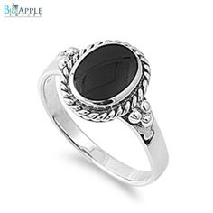 Floral Design Elegant Romantic Black Onyx Ring Solid 925 Sterling Silver Rope edge Fashion Engagement Anniversary Ring