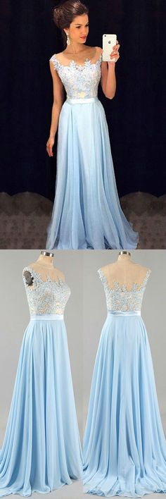 Light blue A-line chiffon lace long prom dress, bridesmaid dress #Lightbluepromdresses #SimpleAlinePromDresses #lacepromdress #bridesmaiddresses #promdress #longpromdress #eveningdress #promdresses #partydresses #Loveprom