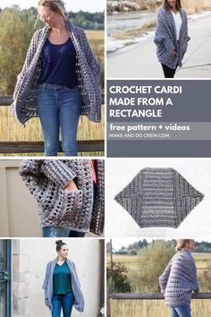 Crochet Cardigan Pattern, Free Crochet Poncho Patterns, Chunky Crochet, Oversized Cardigan, Crochet Clothes, Make And Do Crew, How To Make, Home Outfit, Sweaters