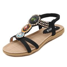 2017 summer new women sandals Bohemia beaded soft bottom leisure large size  women s shoes fashion flat sandals de479787ddfa