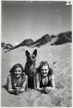 Two women and a dog on the beach, c.1940, National Media Museum Collection / SSPL