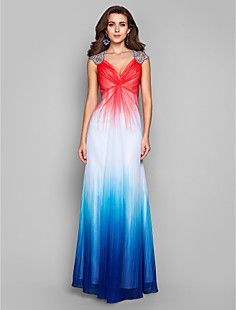 A-line/Princess Queen Anne Floor-length Chiffon Evening Dres... – USD $ 199.99