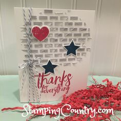 Embossing Paste on Cards, Patriot Card, Wood Words, All Thinks Thanks, Stampin' Up! Cards
