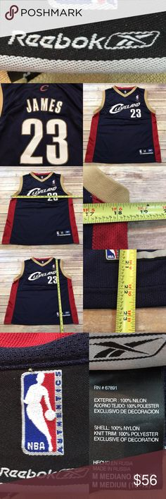 👕M 10-12 Cleveland Cavs Lebron James Boys Jersey Measurements are in photos. Normal wash wear, no flaws. B2/P  I do not comment to my buyers after purchases, due to their privacy. If you would like any reassurance after your purchase that I did receive your order, please feel free to comment on the listing and I will promptly respond.   I ship everyday and I always package safely. Thank you for shopping my closet! Reebok Shirts & Tops