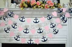 Paper Heart and Anchor garland, wedding decorations, nautical anchor garland, navy pastel pink bridal shower decor, beach wedding decor