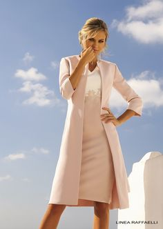 Linea Raffaelli Santorini | Soft pink coat and matching dress with a v-neck & lace applications | special occasion wear