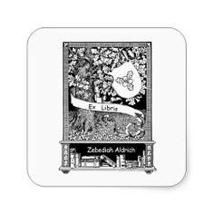 Oak Tree and Shield Bookplate Stickers