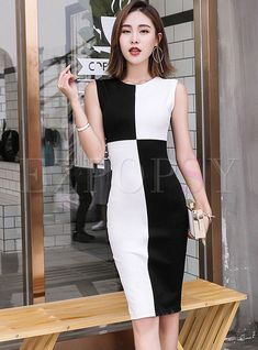 fe72fce946 Shop for high quality Brief Color-blocked O-neck Sleeveless Sheath Dress  online at