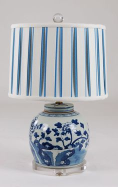 Chinoiserie Design Lamp With Black And Blue Striped Shade