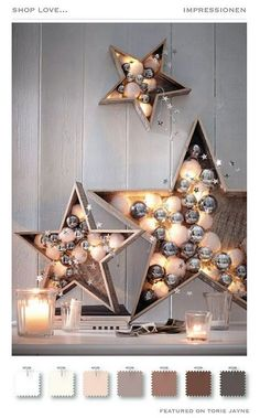 Weihnachtliche Dekoration mit Sternen und Christbaumkugeln Christmas decoration with stars and baubles Related posts:Mrs. Locke sews: 15 minutes of ChristmasChristmas - What can be done for Christmas? New Years Decorations, Christmas Party Decorations, Christmas Parties, Table Decorations, Diy Decoration, Homemade Decorations, Wooden Christmas Crafts, Christmas Dinners, Diy Christmas Lights