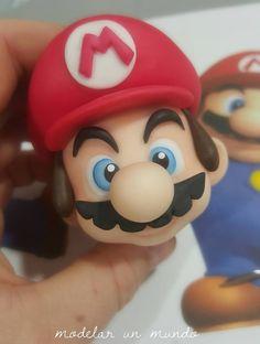 Super Mario Bros, Bolo Super Mario, Super Mario Cupcakes, Fimo Disney, Polymer Clay Disney, Fondant Cupcakes, Fondant Toppers, Mario Birthday Cake, Super Mario Birthday