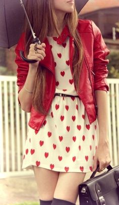 red moto & heart dress <3
