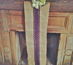 Natural Rustic Burlap Runners with Purple Lace 12x108 by Jessmy