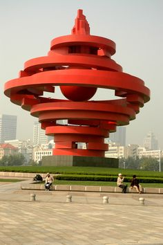 Aliens have landed sculpture, Qingdao Alexander Calder, Outdoor Sculpture, Outdoor Art, Henry Moore, Abstract Sculpture, Sculpture Art, Sculpture Garden, Statues, Graffiti
