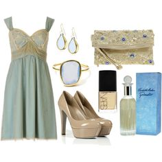 Blue slip dress with taupe