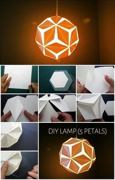 DIY Five Petals Pendant Light diy diy ideas diy crafts do it yourself diy projec. DIY Five Petals Pendant Light diy diy ideas diy crafts do it yourself diy projec… – Diy Origami, Paper Crafts Origami, Paper Crafting, Paper Lantern Lights, Paper Lanterns, Diwali Lantern, Origami Lights, Diy Pendant Light, Pendant Lighting