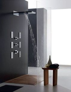 Love the design of this modern shower. Douche Design, Modern Design, Contemporary Design, Minimalist Bathroom Design, Minimalist Design, Simple Interior, Modern Shower, Shower Remodel, Interior Exterior