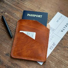 Our Passport Sleeve offers protection for your passport and a front pocket for cards or boarding passes when you are on the move. Lanyard Wallet, Id Wallet, Passport Wallet, Passport Cover, Travel Fashion, Vacation Outfits, Leather Accessories, Hand Stitching, Sewing Ideas