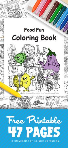 FREE PRINTABLE: 47-page coloring book teaching ABC's and Fruits/Vegetables. Great Resource for parents and teachers! #educational #food #nutrition