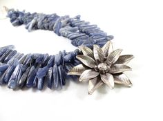 Karen Hill Tribe silver flower necklace blue kyanite by NatureLook