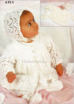 Knitting Pattern #24-6 Piece Matinee Set for 0-3m Baby