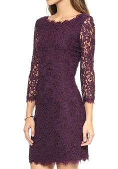 Dark Purple Floral Hollow-out Zipper See Through Three Quarter Length Sleeve Sexy Slim Lace Mini Dress