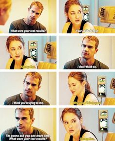"His face=priceless. Inlove how he doesn't even bother to argue about it or immediately say ""You're divergent"", he just takes it. Be Brave Divergent, Divergent Fandom, Divergent Trilogy, Divergent Insurgent Allegiant, Divergent Quotes, Insurgent Quotes, Tfios, Divergent Scenes, Tris Et Tobias"