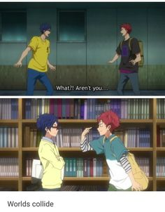 Do you know how long I have waited for this reunion? Like,to for so long, I cried when they showed us baby Rei in starting days, and all I wanted was for them to bring them back together, and it's such a positive interaction too I'm so happy! Future Memes, Rei Free, Splash Free, Free Eternal Summer, Free Iwatobi Swim Club, Makoharu, Kyoto Animation, Free Anime, Anime Shows