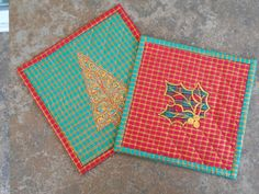 CHRISTMAS HOLIDAY PLAID MugRugs Snack Mats Candle by TessieTextile
