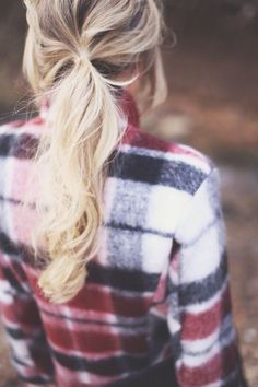Pair your flannel with a Pony tail extension in any color to add a little something extra to your casual style. | Hair2wear Christie Brinkley Collection