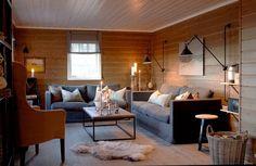 gravity-gravity:Norwegian cabin via Interiørmagasinet Home Living Room, Living Room Furniture, Cosy Decor, Shabby Home, Dream Rooms, Living Room Inspiration, Bungalow, House Ideas, House Design