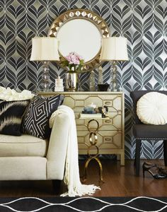 South Shore Decorating Blog: I love the antique white dresser with the gold and black room accents.