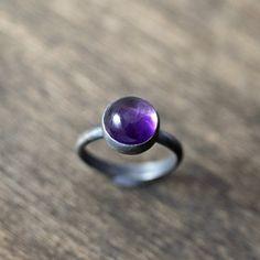 Amethyst Birthstone Ring, February Birthstone Grape Purple Amethyst Gemstone Oxidized Sterling Silver Ring - Ready to ship in Size 5.5