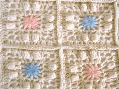 Vtg Shabby Cottage Pink Flower Knit Crochet Afghan Blanket Throw Granny Square