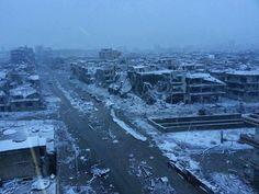 A city lies dead in winter: Homs, Syria