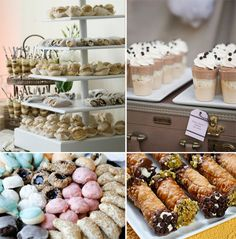 italians put as much emphasis on food as they do the ceremony because food is  very important in their rich culture, this is a viennese dessert table which traditionally has italian pastries,cookies,cannolies,and fruit tarts .