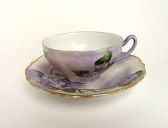 Antique C. T. Porcelain Hand Painted Teacup and Saucer Germany, Carl Tielsch Lavender Floral/ Vintage C. T. Cup and Saucer