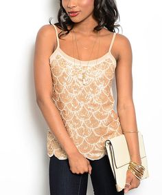 Buy in America Tan Plumage Camisole | zulily