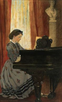 "Jessie Willcox Smith - Beth at the Piano (""The great drawing-room was haunted by a tuneful spirit that came and went unseen""), 1922 Illustration for Little Women"